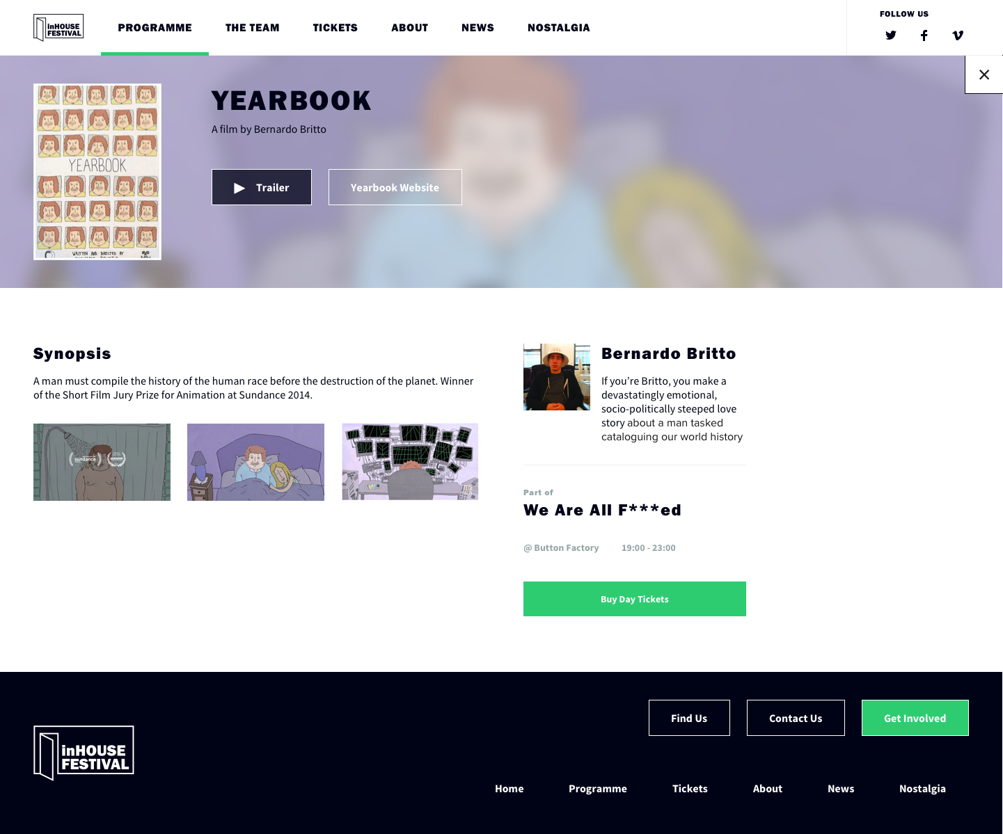 Screenshot of film page for Yearbook