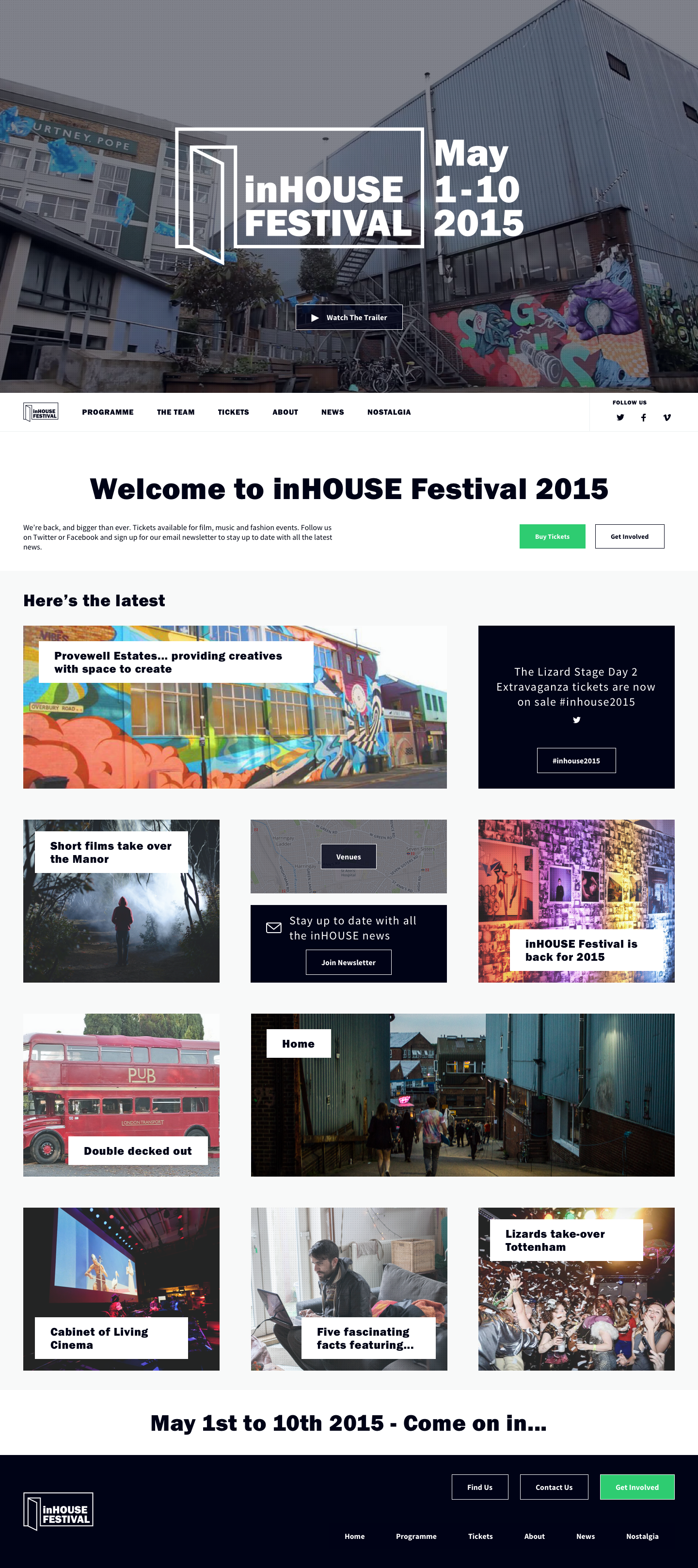 Screenshot of the inHouse Festival landing page