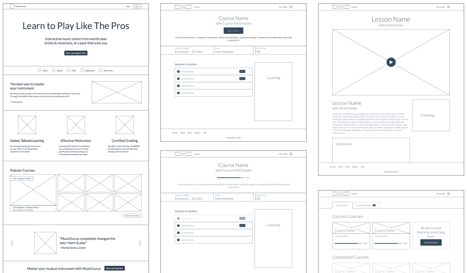 Screenshots of wireframes from the product design process